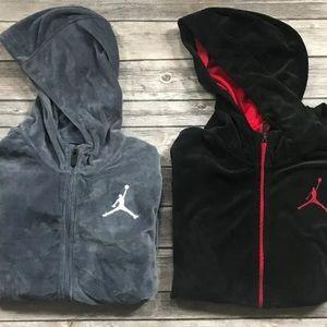 Nike Jordan Boys velour Hooded sweatshirt Gray